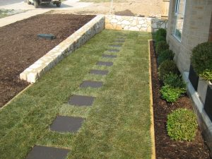 retaining wall grass paved edging